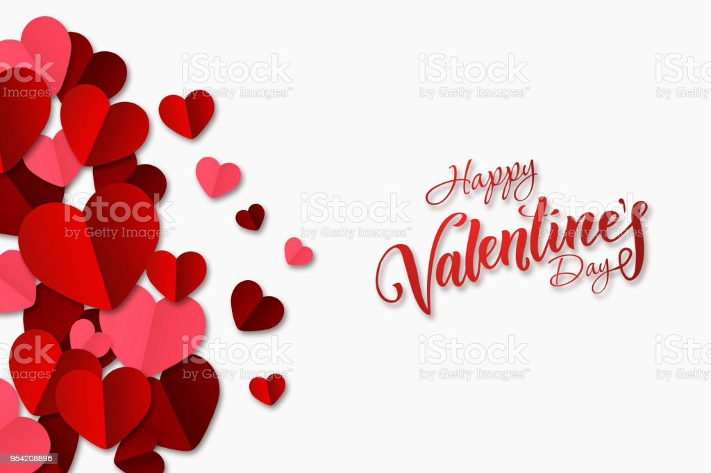 Happy Valentine's Day, web banner. Composition with red, paper hearts on a white background. Romantic background, Flyer, postcard, invitation, raster illustration. stock photo