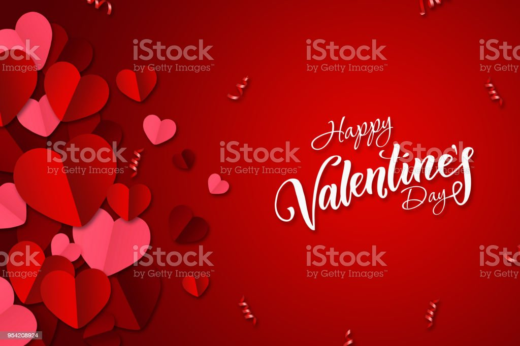 Happy Valentine's Day, web banner. Composition with red, paper hearts on a red background. Romantic background, Flyer, postcard, invitation, raster illustration. stock photo