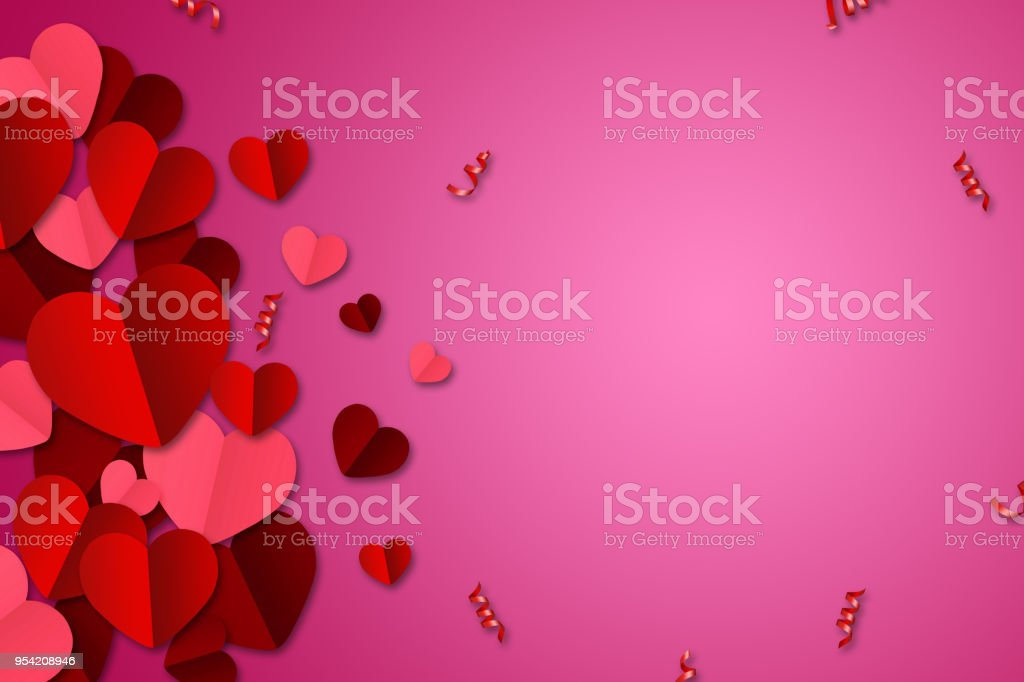 Happy Valentine's Day, web banner. Composition with red, paper hearts on a pink background. Romantic background, Flyer, postcard, invitation, raster illustration. stock photo