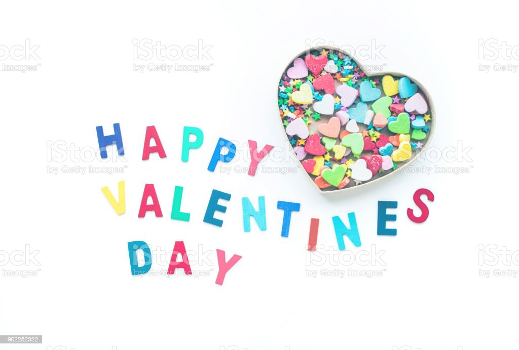 Happy valentine's day with colorful heart shape in box stock photo