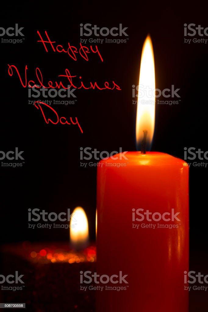 Fotografia De Feliz Dia De San Valentin Con Velas Rojo Y Mas Banco