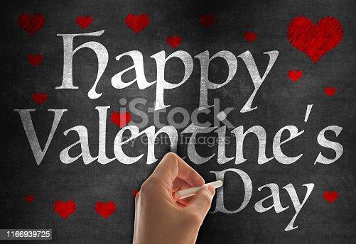 Happy Valentine's Day Writing with Chalk on Blackboard