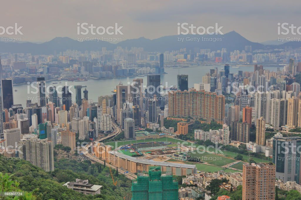 Happy Valley Racecourse and Causeway Bay stock photo