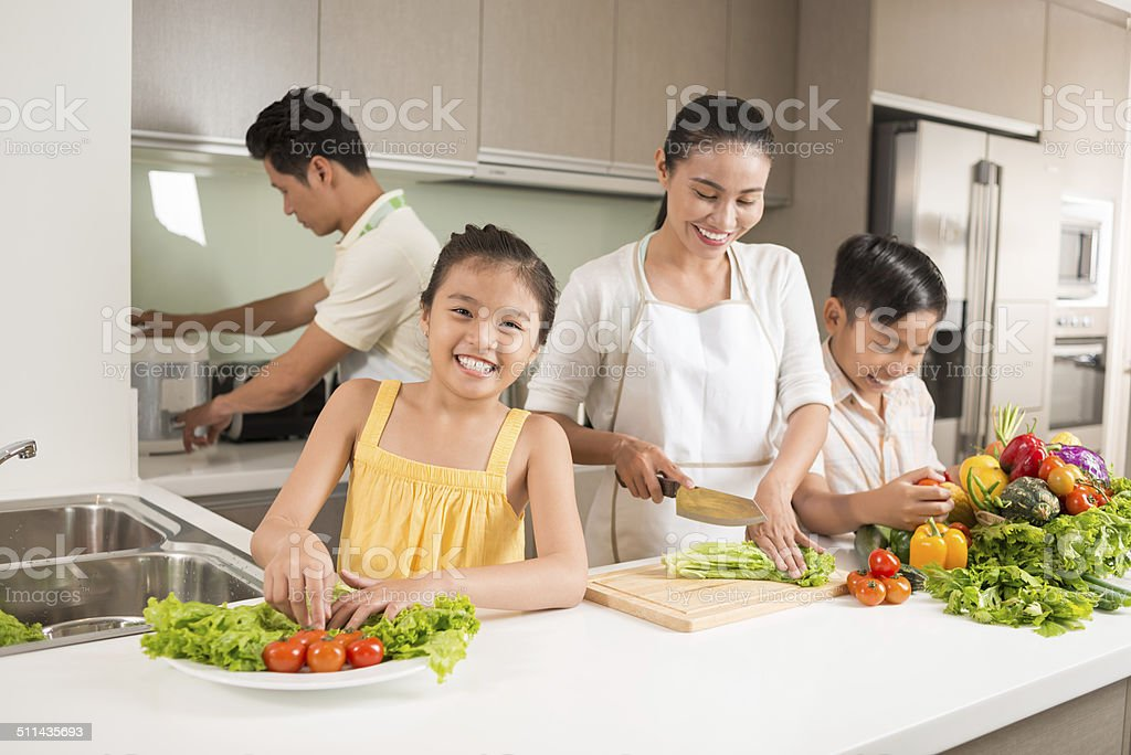 Happy Vietnamese family stock photo