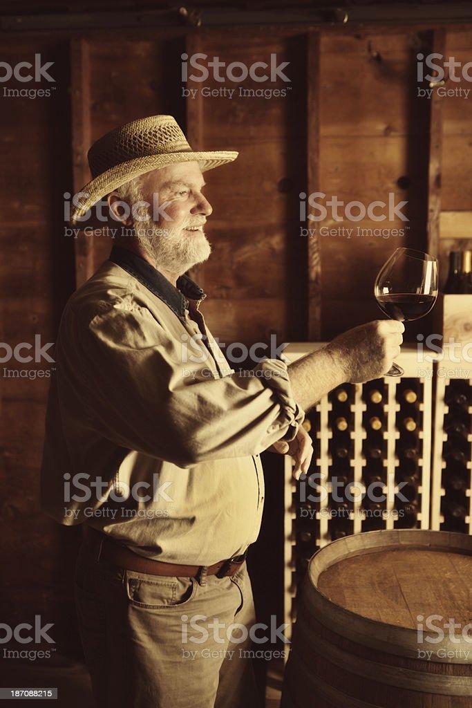 Happy Vintner Winemaker Working in the Cellar Vertical royalty-free stock photo