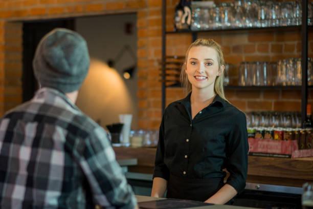 Happy Waitress stock photo