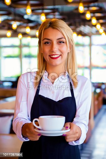 1066358064istockphoto Happy waitress working at an outdoor cafe 1017287564