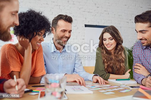istock Happy web designers developing new web site layout in office 938226836
