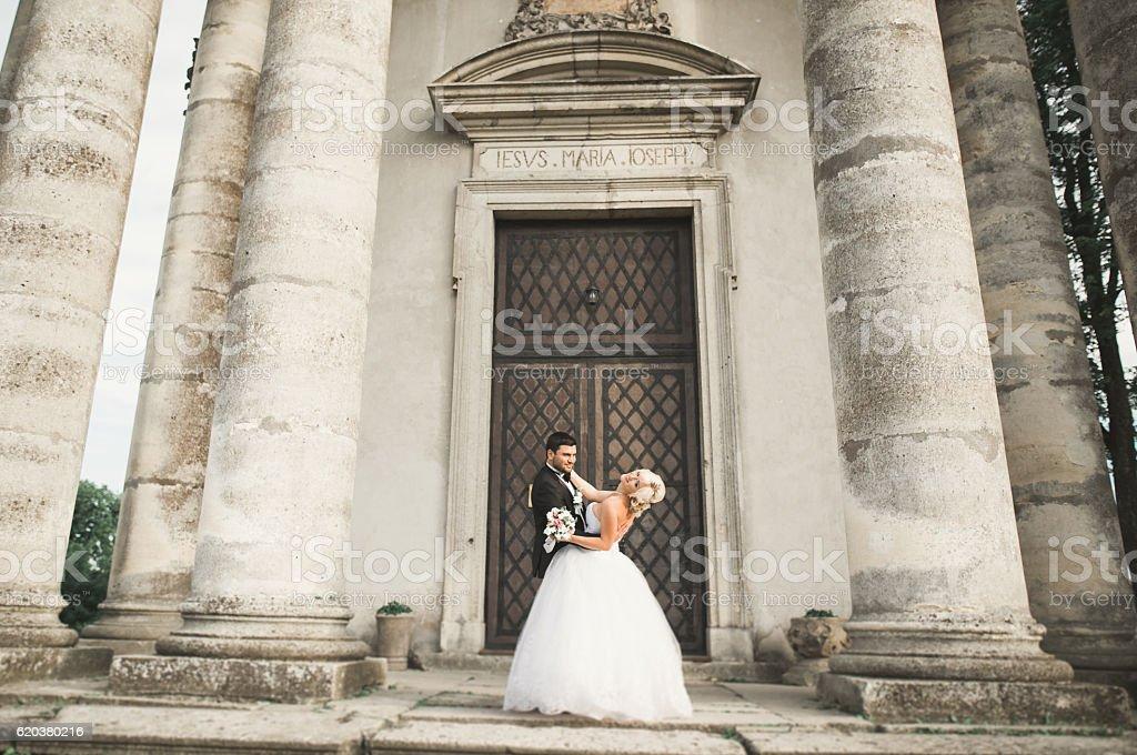 Feliz Casal casamento justo e Beijar no fundo antigo Castelo foto de stock royalty-free