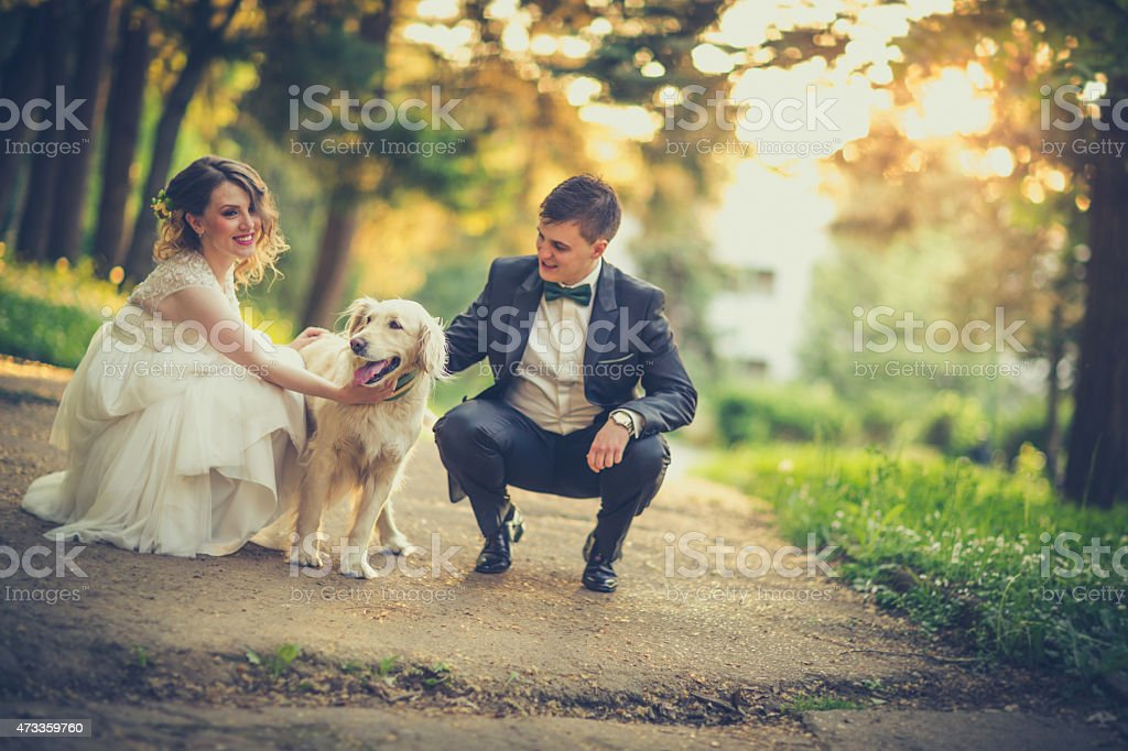 Happy wedding couple stock photo