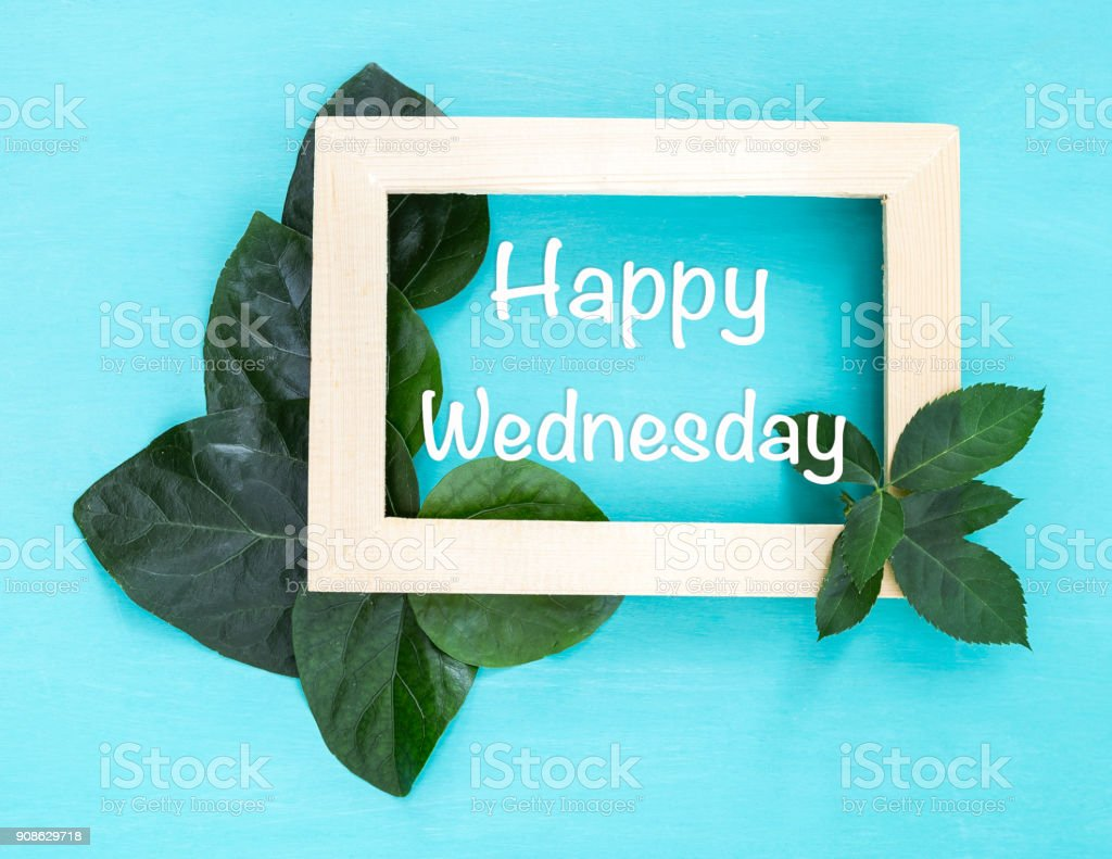 Happy wednesday in wooden picture frame with beautiful green leaves stock photo