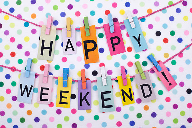 Happy Weekend with multicolored polka dot background stock photo