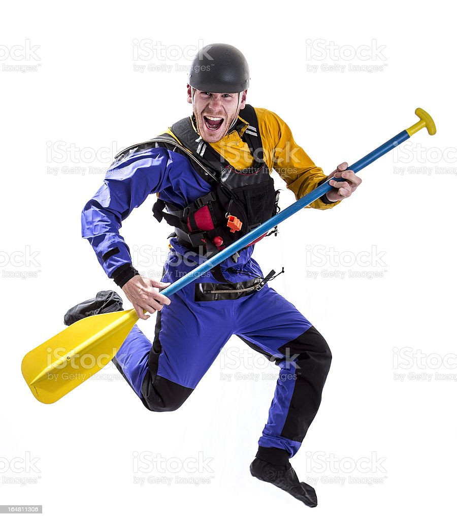 Happy white water rafter jumping royalty-free stock photo