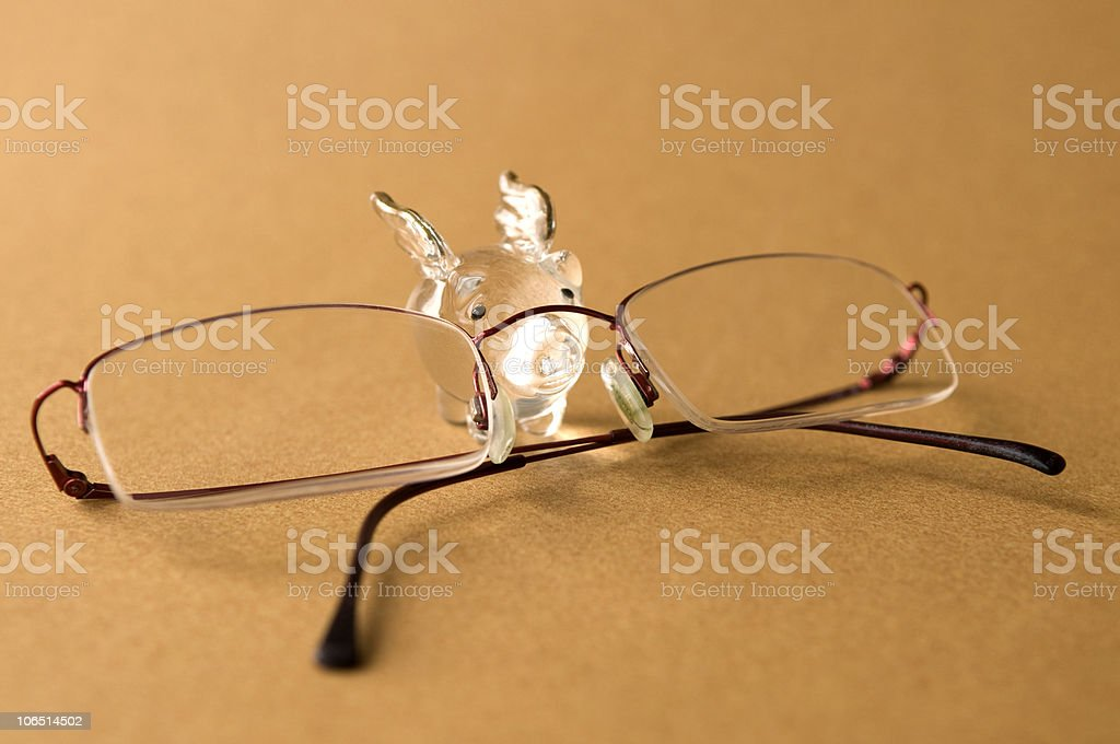 Happy Winged Pig Wearing Glasses royalty-free stock photo