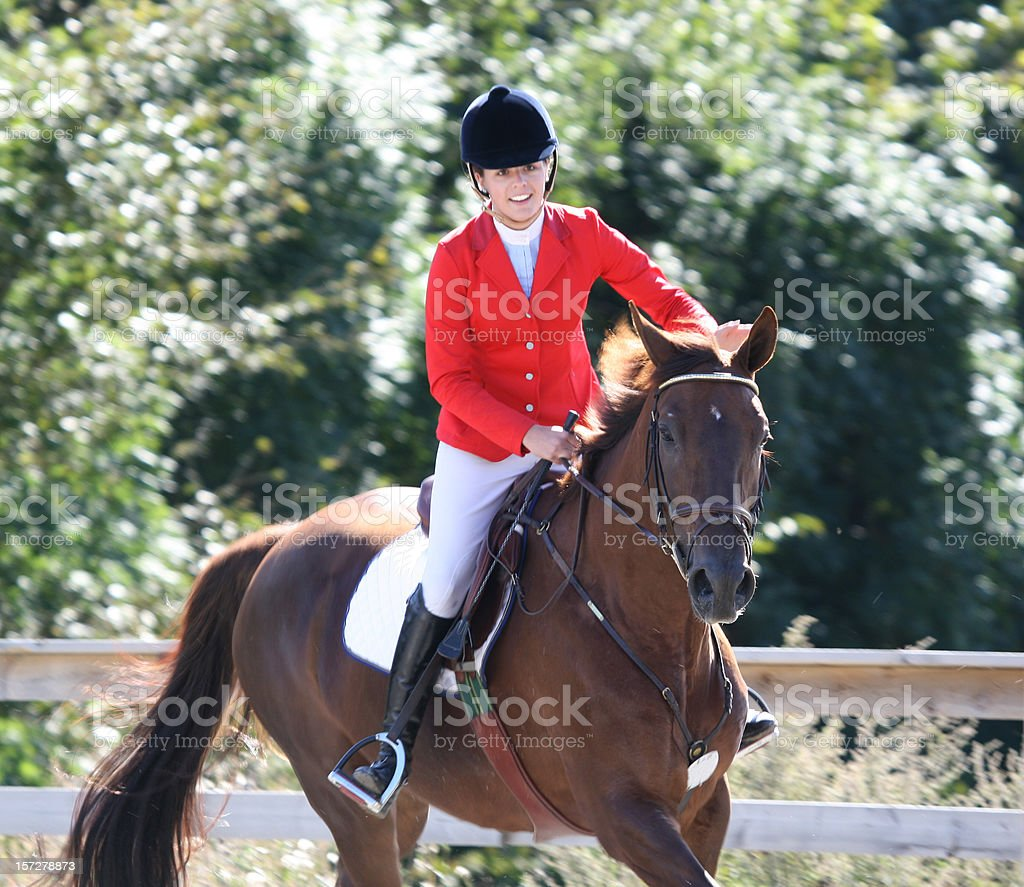 Happy winner of show jumping competition, Norway stock photo