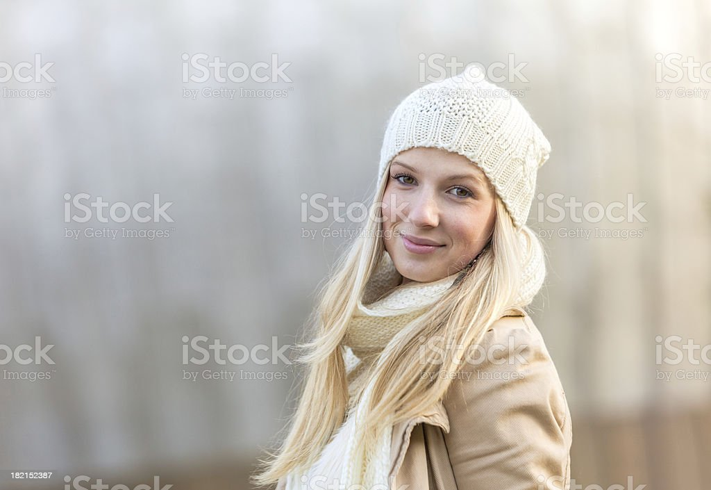 happy winter girl stock photo