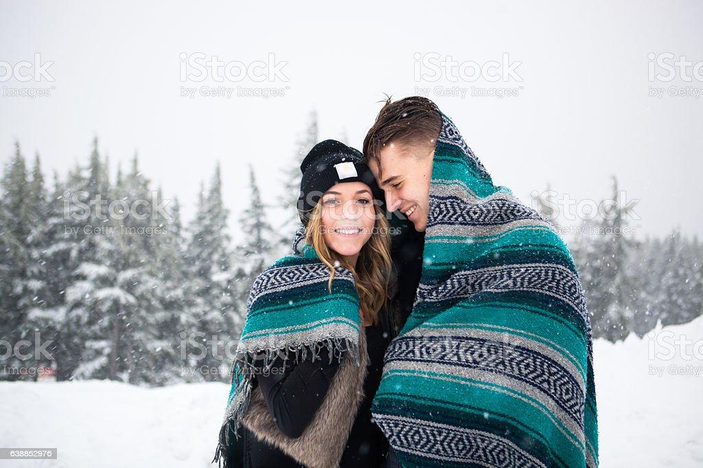 Happy Winter Snow Couple Together stock photo