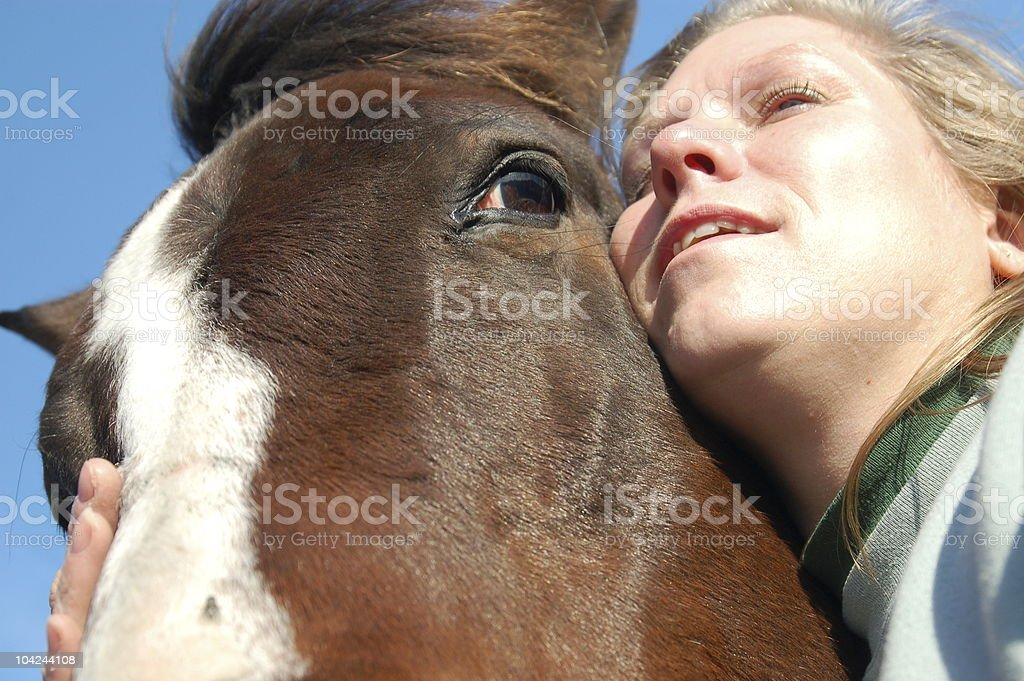 Happy with a Horse stock photo