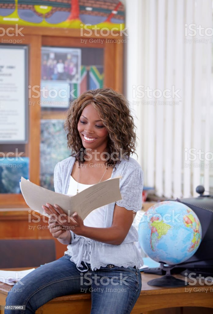 Happy with her students test results stock photo