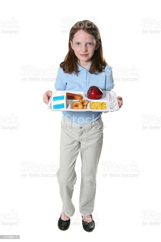 Happy with School Lunch stock photo