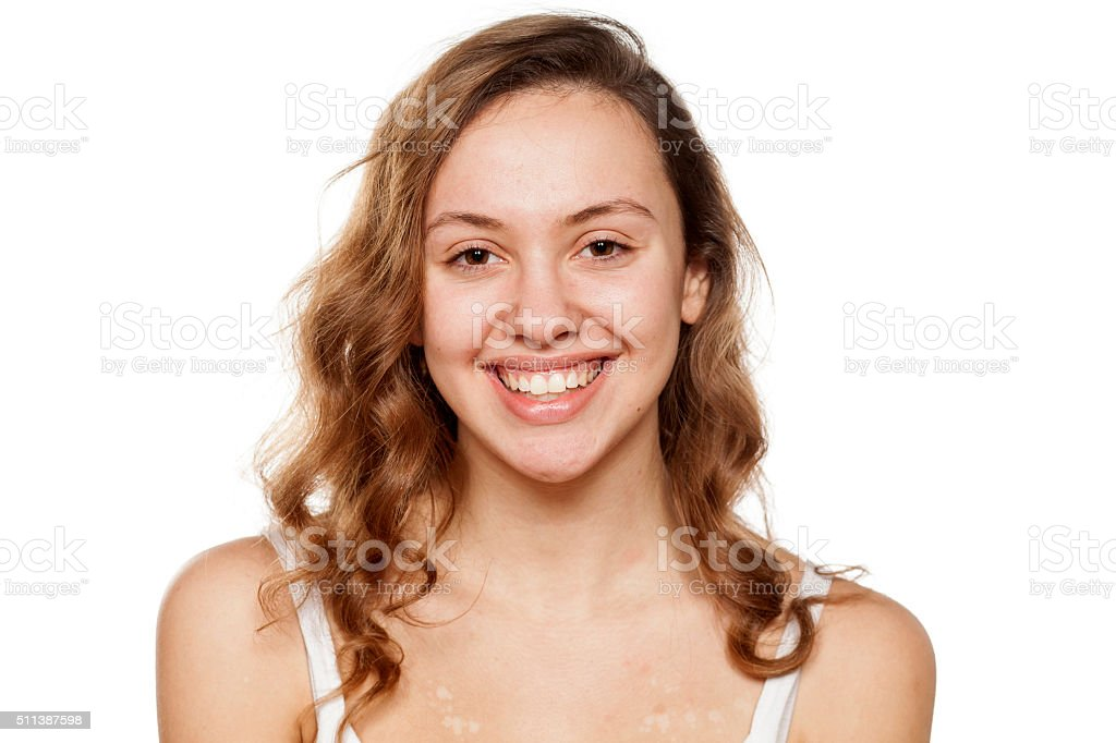 happy without make-up stock photo