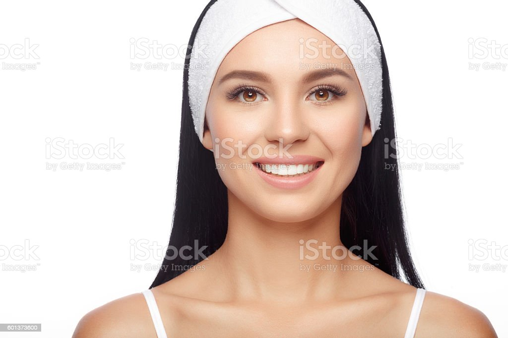 Happy Woman after Bath with Clean Perfect Skin stock photo