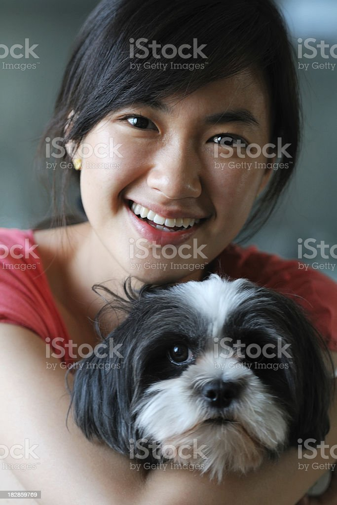 Happy Woman and Cute Dog - XLarge royalty-free stock photo
