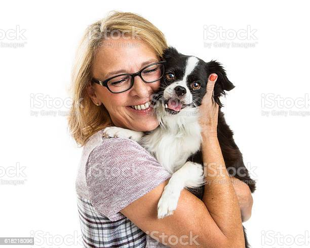 Happy woman and dog together over white picture id618218096?b=1&k=6&m=618218096&s=612x612&h=s5rzmvdwb4idsbbc 5yeimeep08cstkm5cajmjsqkvg=