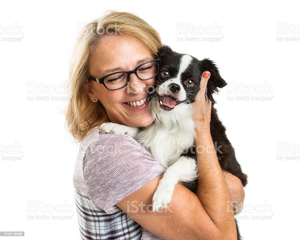 Happy Woman and Dog Together Over White stock photo