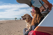 istock Happy woman and her dog sitting the trunk of a car at the beach. 1301969689