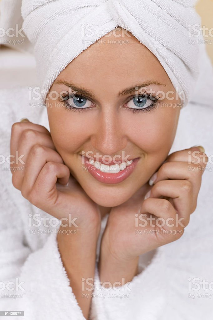 Happy Woman At A Health Spa royalty-free stock photo
