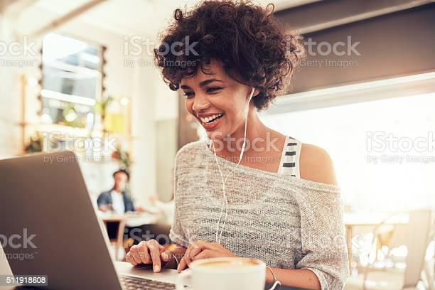 Happy woman at cafe using laptop picture id511918608?b=1&k=6&m=511918608&s=612x612&h=pzeegknp94fqtozgy3n9vapskmantecw4lymbl3dcl8=
