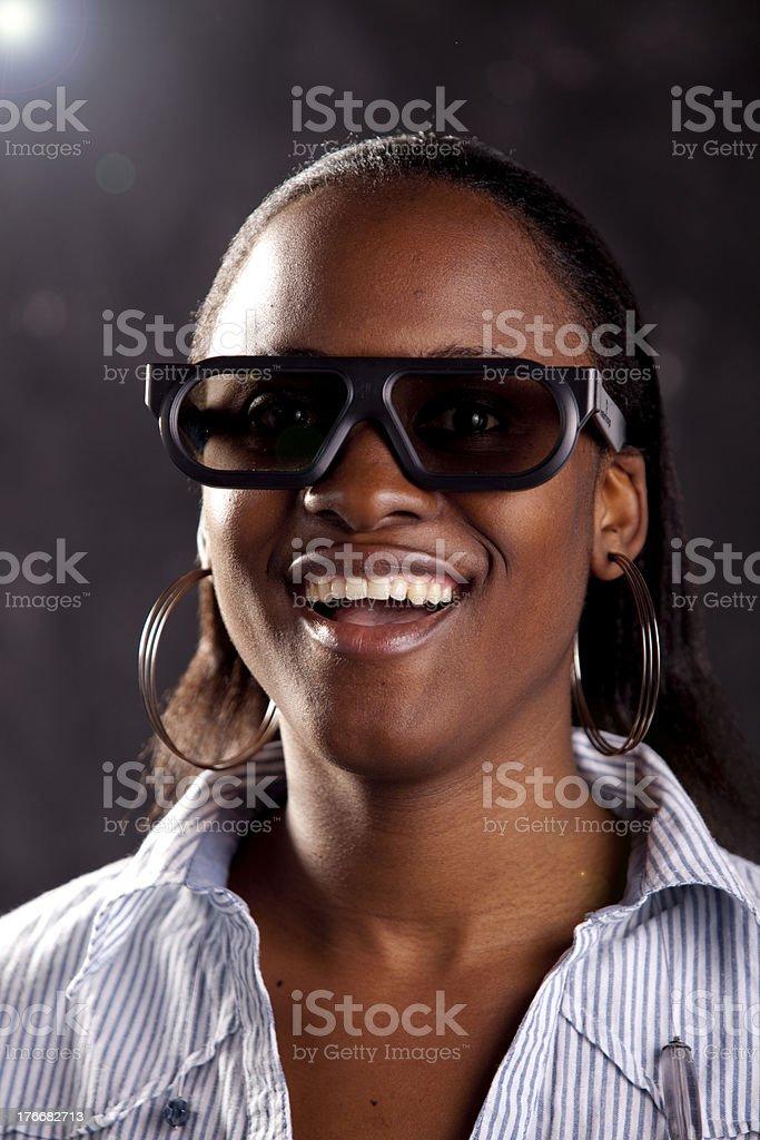 Happy Woman at cinema royalty-free stock photo
