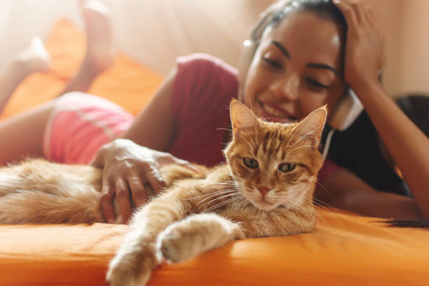Happy woman at home listening music and cuddle her cat stock photo