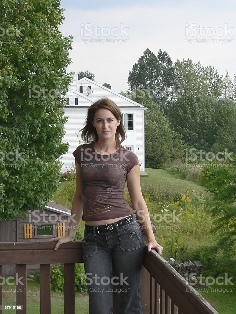 Happy woman at home royalty-free stock photo