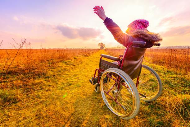gün batımında mutlu bir kadın. genç bir kız tekerlekli - arkadan görünüm - tekerlekli sandalye stok fotoğraflar ve resimler