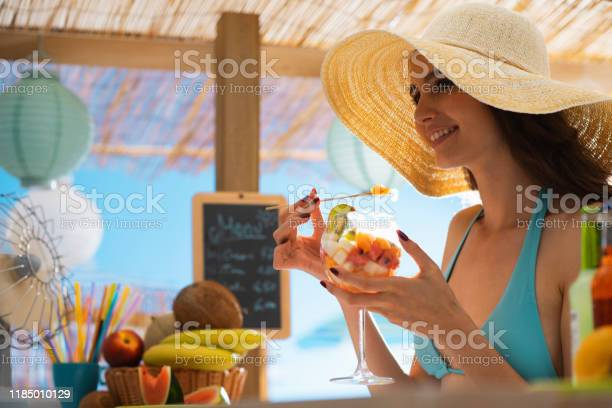 Happy woman at the beach eating a fruit salad picture id1185010129?b=1&k=6&m=1185010129&s=612x612&h=r5o8k63yqwg4fnendftgzacn6lk4lcsfbxyuigpbz g=