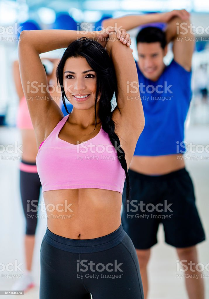 Happy woman at the gym royalty-free stock photo