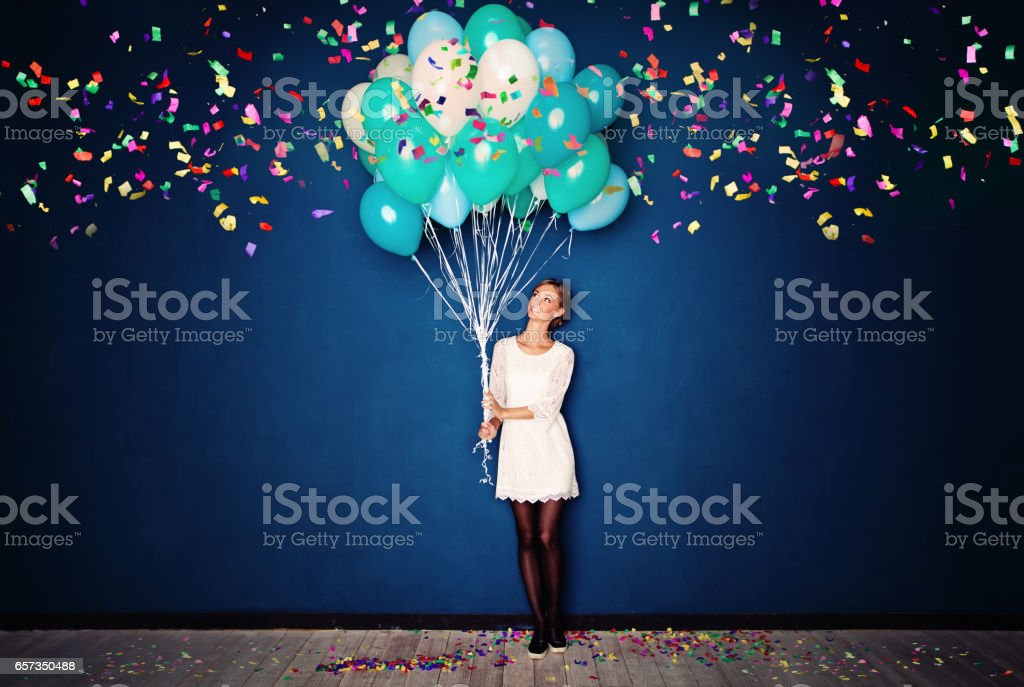Happy Woman, Balloons and Confetti on Blue Banner Background stock photo