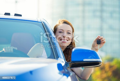 istock Happy woman, buyer sitting in her new blue car 466007872