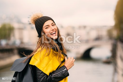 istock Happy woman by the river 607272792