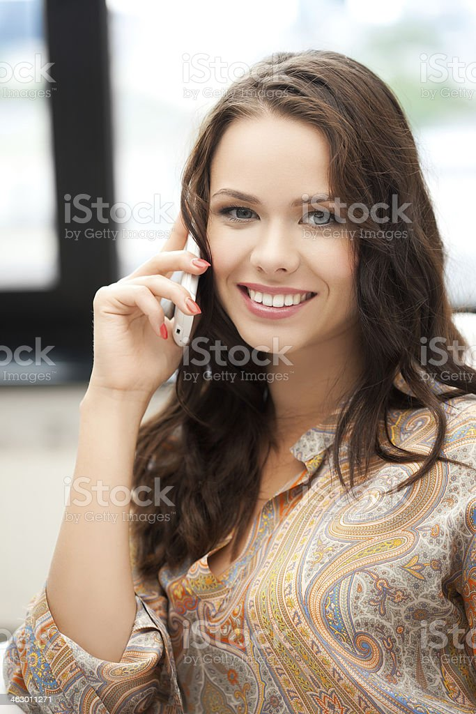 happy woman calling on mobile phone royalty-free stock photo