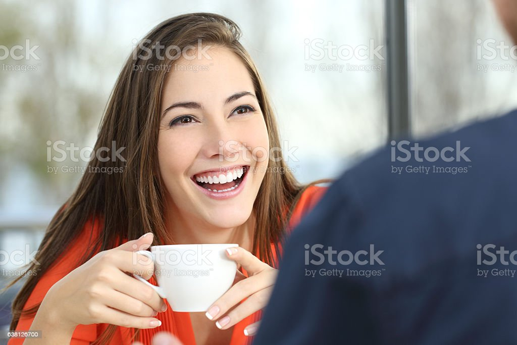 Happy woman dating with perfect smile stock photo