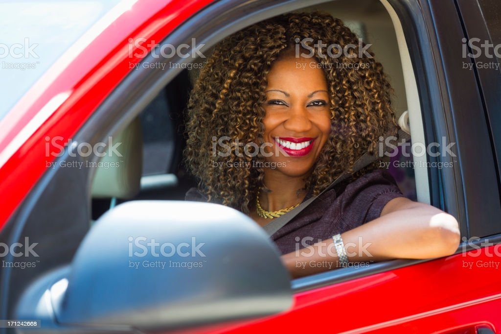 Happy Woman Driver stock photo