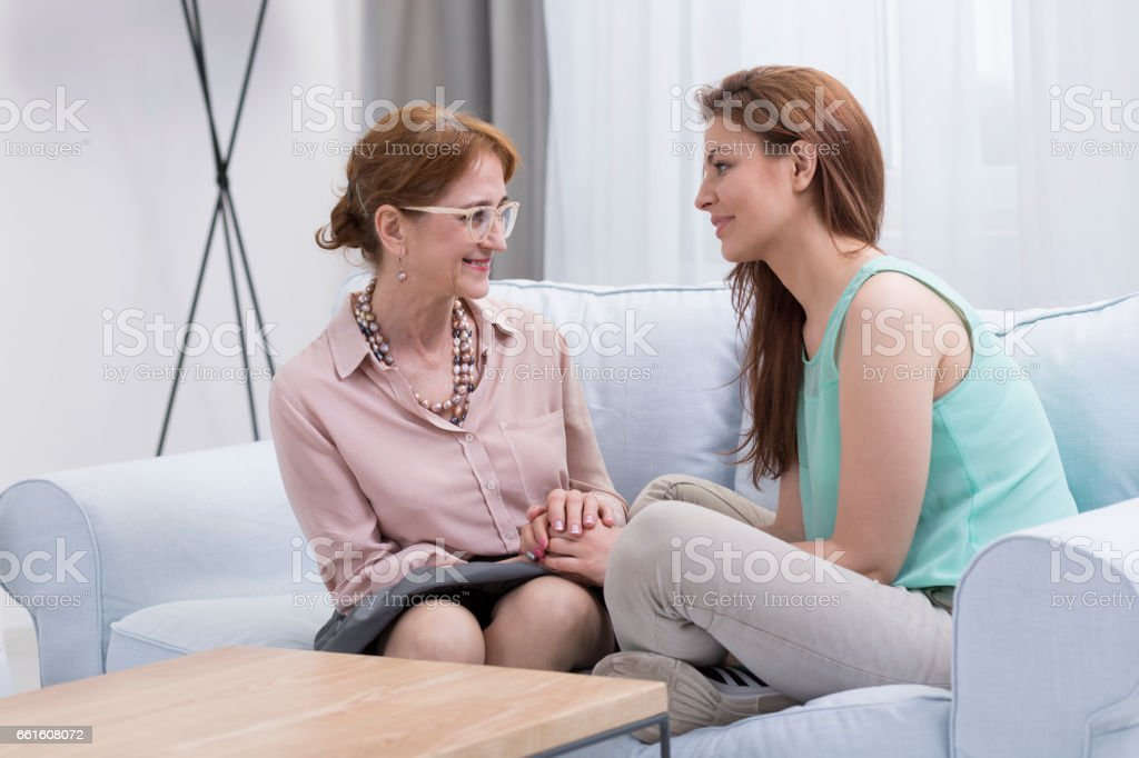 Happy woman during effective therapy stock photo