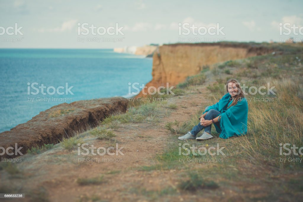 Happy woman enjoying beach relaxing joyful in summer spring royalty-free stock photo