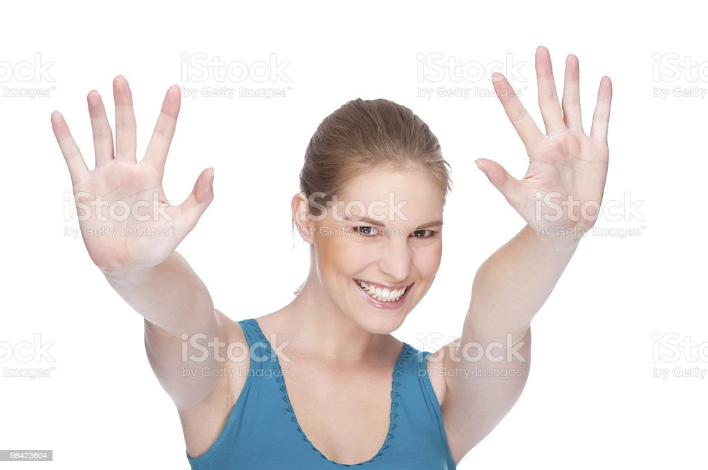 Happy woman gesturing royalty-free stock photo