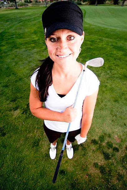 Happy Woman golfer stock photo