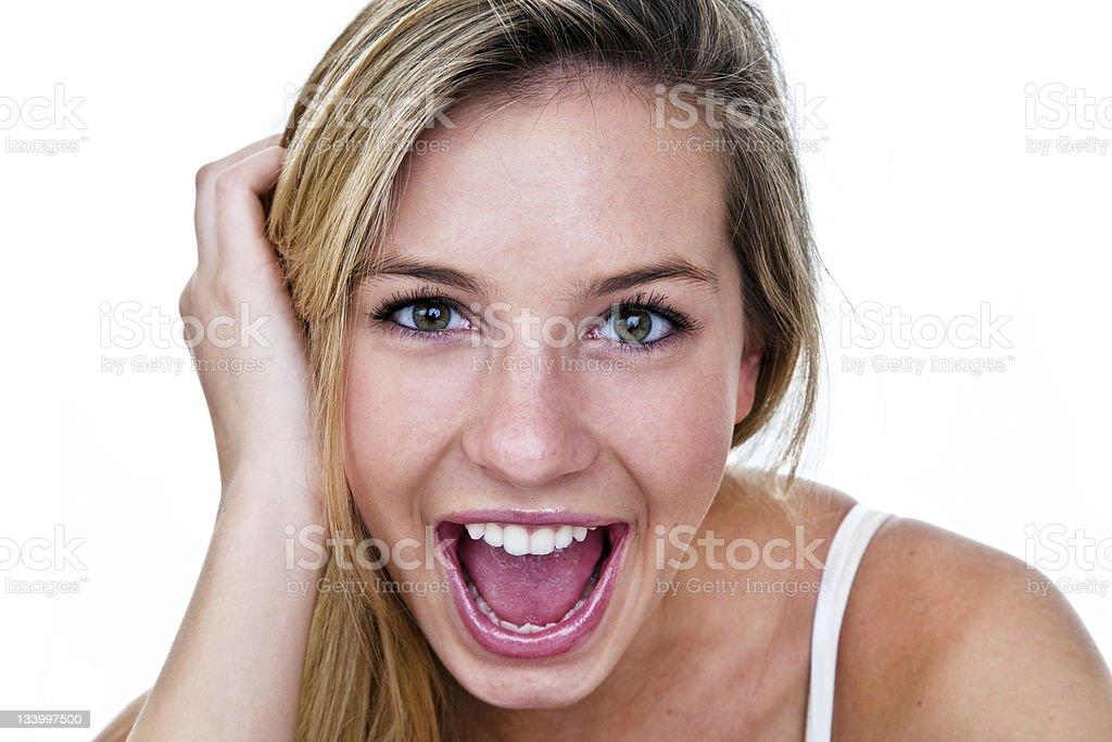Happy woman headshot royalty-free stock photo