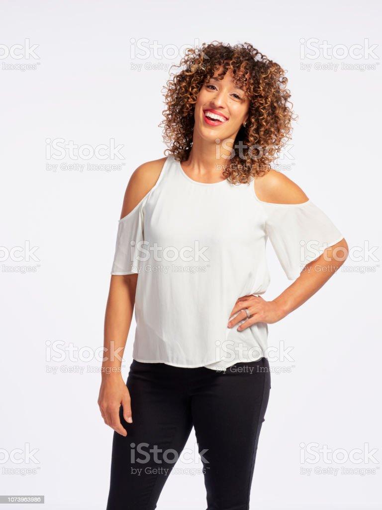 Happy Woman High Key in Studio stock photo
